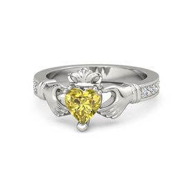 Heart Yellow Sapphire 14K White Gold Ring with Diamond & White Sapphire