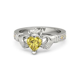 Heart Yellow Sapphire 14K White Gold Ring with White Sapphire and Citrine