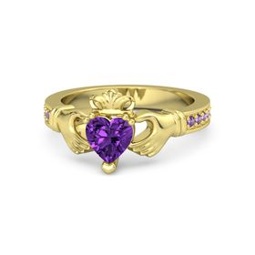 Heart Amethyst 14K Yellow Gold Ring with Amethyst