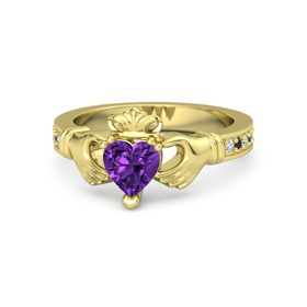 Heart Amethyst 14K Yellow Gold Ring with Diamond and Black Diamond
