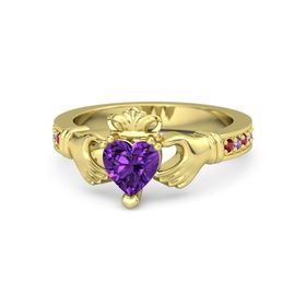 Heart Amethyst 14K Yellow Gold Ring with Ruby and Amethyst