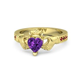 Heart Amethyst 14K Yellow Gold Ring with Ruby and Red Garnet