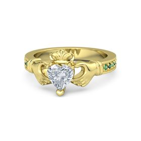 Heart Diamond 14K Yellow Gold Ring with Emerald and Alexandrite