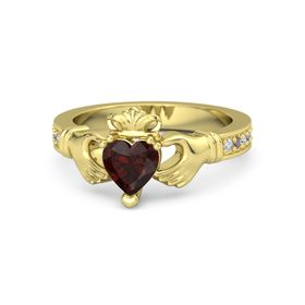 Heart Red Garnet 14K Yellow Gold Ring with Diamond and Rhodolite Garnet