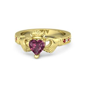 Heart Rhodolite Garnet 14K Yellow Gold Ring with Ruby & White Sapphire