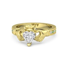 Heart White Sapphire 14K Yellow Gold Ring with Diamond & Emerald