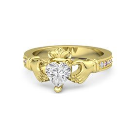 Heart White Sapphire 14K Yellow Gold Ring with Diamond and Pink Sapphire