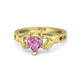 Heart Pink Sapphire 14K Yellow Gold Ring with Red Garnet and Rhodolite Garnet