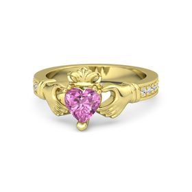 Heart Pink Sapphire 14K Yellow Gold Ring with White Sapphire & Diamond