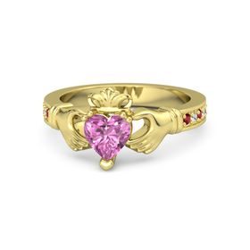Heart Pink Sapphire 14K Yellow Gold Ring with Ruby & White Sapphire