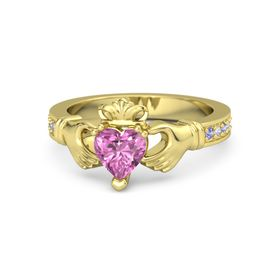 Heart Pink Sapphire 14K Yellow Gold Ring with Iolite & Diamond