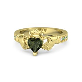 Heart Green Tourmaline 14K Yellow Gold Ring with Diamond & Emerald
