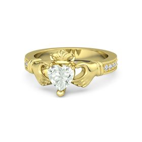 Heart Green Amethyst 14K Yellow Gold Ring with Diamond