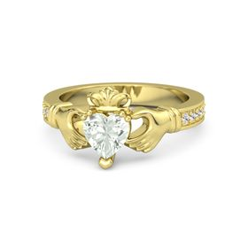 Heart Green Amethyst 14K Yellow Gold Ring with White Sapphire