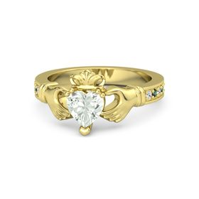 Heart Green Amethyst 14K Yellow Gold Ring with White Sapphire and Alexandrite