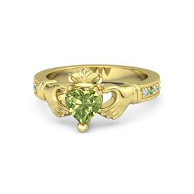 Heart Peridot 14K Yellow Gold Ring with Diamond and Emerald
