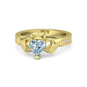 Heart Aquamarine 14K Yellow Gold Ring with White Sapphire