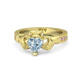 Heart Aquamarine 14K Yellow Gold Ring with Pink Sapphire