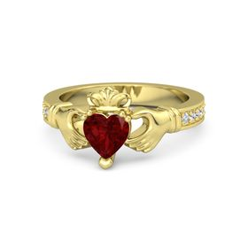 Heart Ruby 14K Yellow Gold Ring with Diamond & White Sapphire