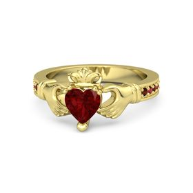 Heart Ruby 14K Yellow Gold Ring with Red Garnet and Ruby