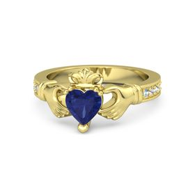 Heart Blue Sapphire 14K Yellow Gold Ring with Aquamarine and White Sapphire