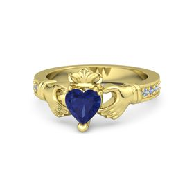 Heart Blue Sapphire 14K Yellow Gold Ring with Blue Topaz and Iolite