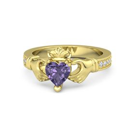 Heart Iolite 14K Yellow Gold Ring with Diamond