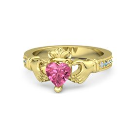 Heart Pink Tourmaline 14K Yellow Gold Ring with Diamond and London Blue Topaz