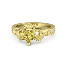 Heart Yellow Sapphire 14K Yellow Gold Ring with White Sapphire and Diamond