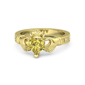 Heart Yellow Sapphire 14K Yellow Gold Ring with Yellow Sapphire and Diamond