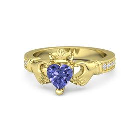 Heart Tanzanite 14K Yellow Gold Ring with Diamond