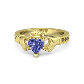 Heart Tanzanite 14K Yellow Gold Ring with Smoky Quartz
