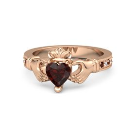 Heart Red Garnet 18K Rose Gold Ring with Red Garnet and White Sapphire