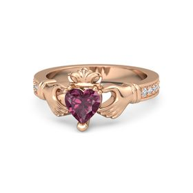Heart Rhodolite Garnet 18K Rose Gold Ring with Diamond