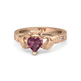 Heart Rhodolite Garnet 18K Rose Gold Ring with White Sapphire & Rhodolite Garnet