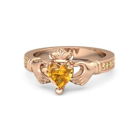 Heart Citrine 18K Rose Gold Ring with Citrine and Yellow Sapphire
