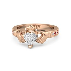 Heart White Sapphire 18K Rose Gold Ring with Diamond and Ruby