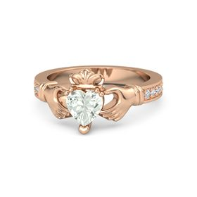 Heart Green Amethyst 18K Rose Gold Ring with Diamond