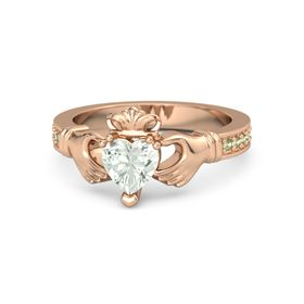Heart Green Amethyst 18K Rose Gold Ring with Peridot
