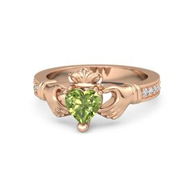Heart Peridot 18K Rose Gold Ring with Diamond