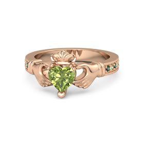 Heart Peridot 18K Rose Gold Ring with Alexandrite and Peridot