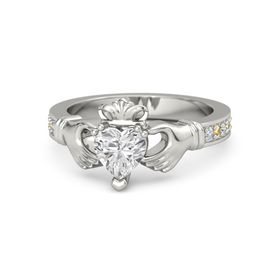 Heart White Sapphire 18K White Gold Ring with Diamond and Citrine