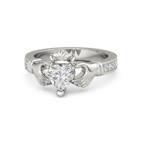 Heart White Sapphire 18K White Gold Ring with White Sapphire and Diamond