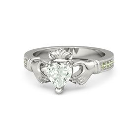 Heart Green Amethyst 18K White Gold Ring with Peridot
