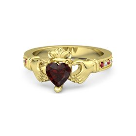 Heart Red Garnet 18K Yellow Gold Ring with Ruby & Diamond