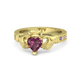 Heart Rhodolite Garnet 18K Yellow Gold Ring with Amethyst and White Sapphire