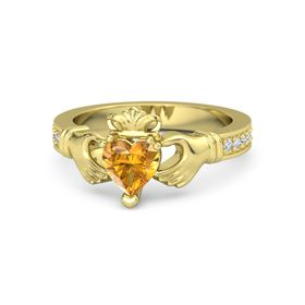 Heart Citrine 18K Yellow Gold Ring with Diamond