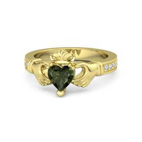 Heart Green Tourmaline 18K Yellow Gold Ring with Diamond