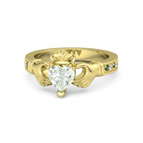Heart Green Amethyst 18K Yellow Gold Ring with Alexandrite & White Sapphire