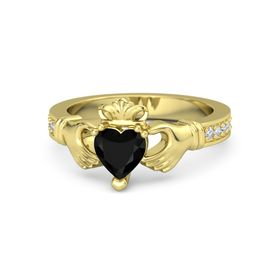 Heart Black Onyx 18K Yellow Gold Ring with Diamond